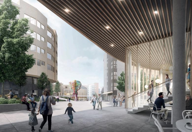 Visualisation of how the Kannelmäki station area could look in the future. NOAN architects